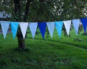 Shaby Baby Boy Shower Fabric Fringe Banner - Blue and White Fabric Flag Banner - Baby Shower Decoration - Party Decor