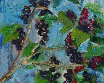 Oil Painting on canvas, Blackcurrant, Brush and Palette Knife,11,7x11,7in, home decor, gift ideas, art