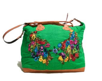 Kelsey Montague Wing collaboration, Guatemalan, Large handmade over-night bag.