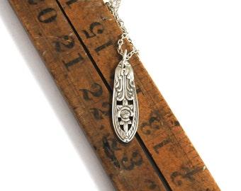 vintage necklace , floral necklace, silver necklace