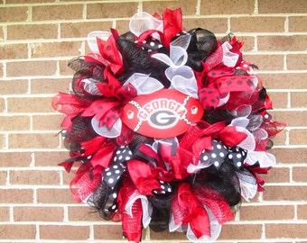 College Wreath, Football Wreath, UGA Wreath, Georgia Wreath, University of Georgia Wreath, College Door Wreath, UGA Mesh Wreath,