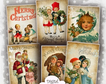 Victorian Vintage Christmas Children ATC Cards Digital Collage Sheet Digital Download Christmas Images for Jewelry Holders, Christmas Cards