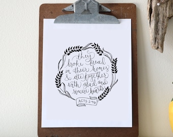 Acts 2:46 Printable Bible Verse Art Print 8x10 Digital Wall Art Gift