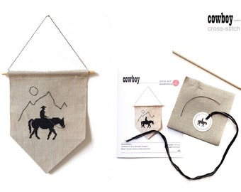 COWBOY - embroidery kit for bunting
