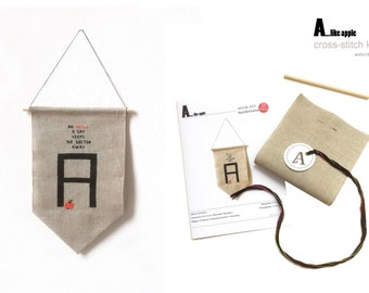 A...LIKE APPLE - embroidery kit for bunting
