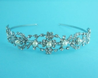 Pearl Bridal Headband, Crystal rhinestone wedding headband, bridal wedding hair accessories, wedding headband headpiece, tiara 250038646