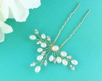 Swarovski crystal freshwater pearl gold wedding hair pin, gold hair pin, pearl rhinestone hairpin, bridal hair pearl, hairpin 276785408