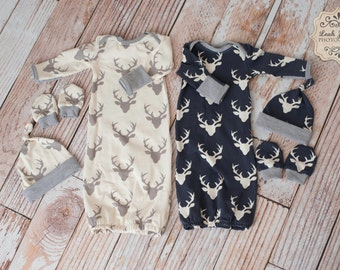 Twin Boys Deer Baby Gown, Mitts, and Hat Baby Shower Gift/ Hunting Baby Gown/ Deer/Buck Baby Gown Purple