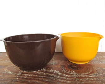 Vintage Yellow And Brown Rosti Mepal Mixing Bowls, Melamine Stacking Batter Bowls From Denmark 3 L, 2 L