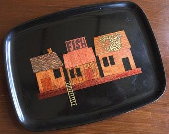Vintage Mod Couroc 60's Fish Market Tray