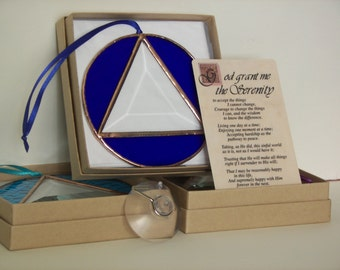 AA Recovery Symbol Stained Glass, Serenity Prayer, Gift Set, Stained Glass Recovery Symbol, Recovery Symbol Blue