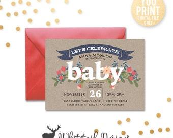 Neutral Baby Shower Invitation, DIGITAL, Baby Shower Invitation, rustic baby shower invite, Simple baby shower invitation, DIY