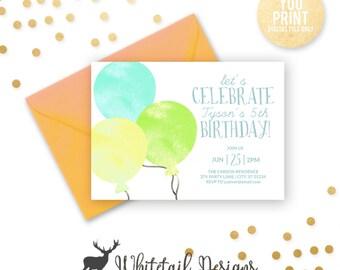 Balloon Birthday Invitation, Balloon Party Invite, Balloons Birthday, Boy Birthday Party Invitation,  Girl Birthday, DIGITAL YOU PRINT