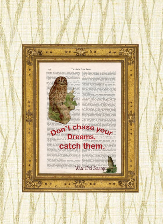 Owl and quote on vintage book page Wise Owl Sayings 5 art