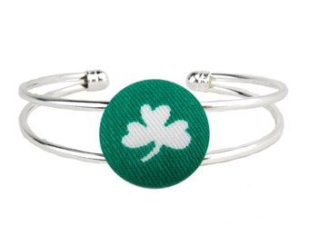 Silver Cuff Bracelet Irish Shamrock Clover Adjustable