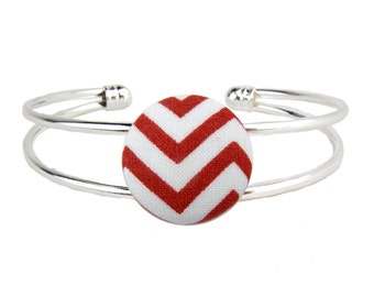 Silver Cuff Bracelet Adjustable Red Chevron