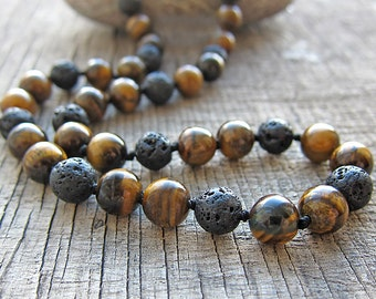 Tiger eye necklace Mens necklace Surfer necklace Black lava necklace Men's necklace Beaded necklace Mens Jewellery for Mens stone necklace