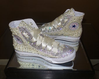 Pearl and Crystal Encrusted Converse High Top Sneakers
