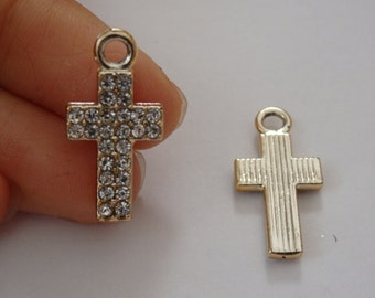 5 cross charms pendant beads rhinestone enamel wholesale jewellery making UK