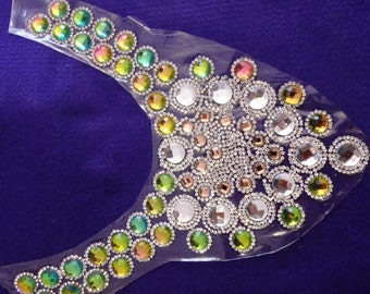 2 large rhinestone neckline applique patch iron on glass hotfix dancing fancy dress making