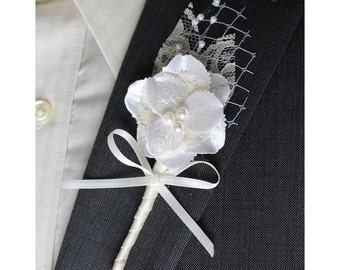 Ivory Wedding Boutonniere Grooms Boutonniere Groomsman Boutonniere  Wedding Boutonniere Silk Boutonniere  Ivory Boutonniere