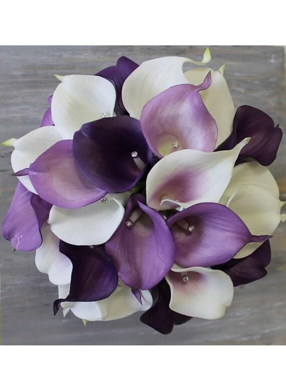 Wedding Flowers Lilies Purple Purple Wedding Bouquet...
