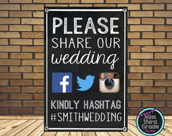 Hashtag Wedding Digital Poster // Social Media Wedding Sign // Facebook, Twitter, Instagram