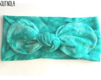 Teal tiedye tied turban-baby turban-tied girls turban-tiedye adult turban-tied headwrap-girls headwrap