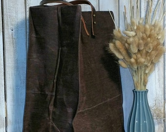 Farmers Market Bag shopper Tote using Hand Waxed Canvas with Leather Handles