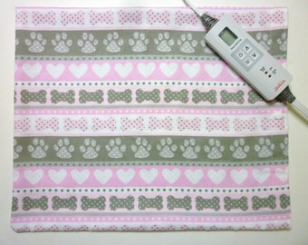 Replacement Heating Pad Cover ~Fits 12 x 15 ~ Doggy~Bones Paws and Hearts