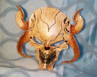Handmade in Canada genuine leather kids skull mask with horns