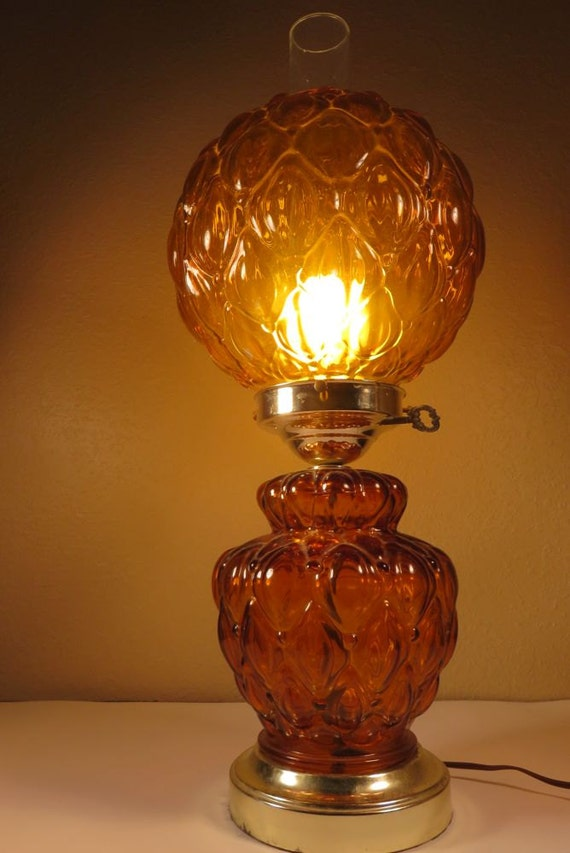 Vintage Fenton Amber Glass Parlor Table Lamp Gone With The
