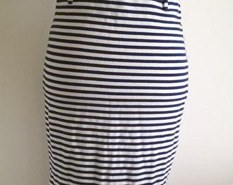 White and Navy Striped Midi  Skirt