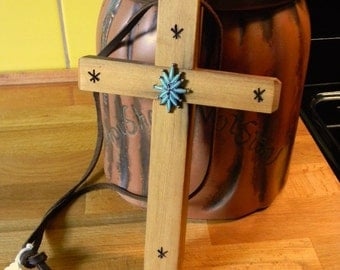 Turquois & Old Yellow Pine Mission Cross