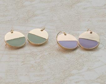 Enamel dot earrings - pastel and gold earrings