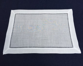 Set of 12 White Linen Cloth Gallucci Hemstitch Table Placemats 14x20 Inch **Free Shipping**