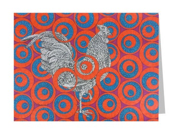 Ruby Rooster Card - Red Blue Notecard - Blank Greeting Card - 5x7 Chicken Card - Modern Country - Cowboy Stationery - Wild Animal Card
