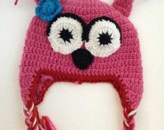 Pink Owl Crochet Kids Hat