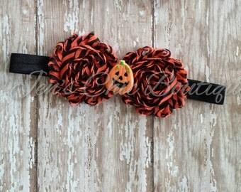 Halloween pumpkin elastic infant, toddler, or adult headband bow