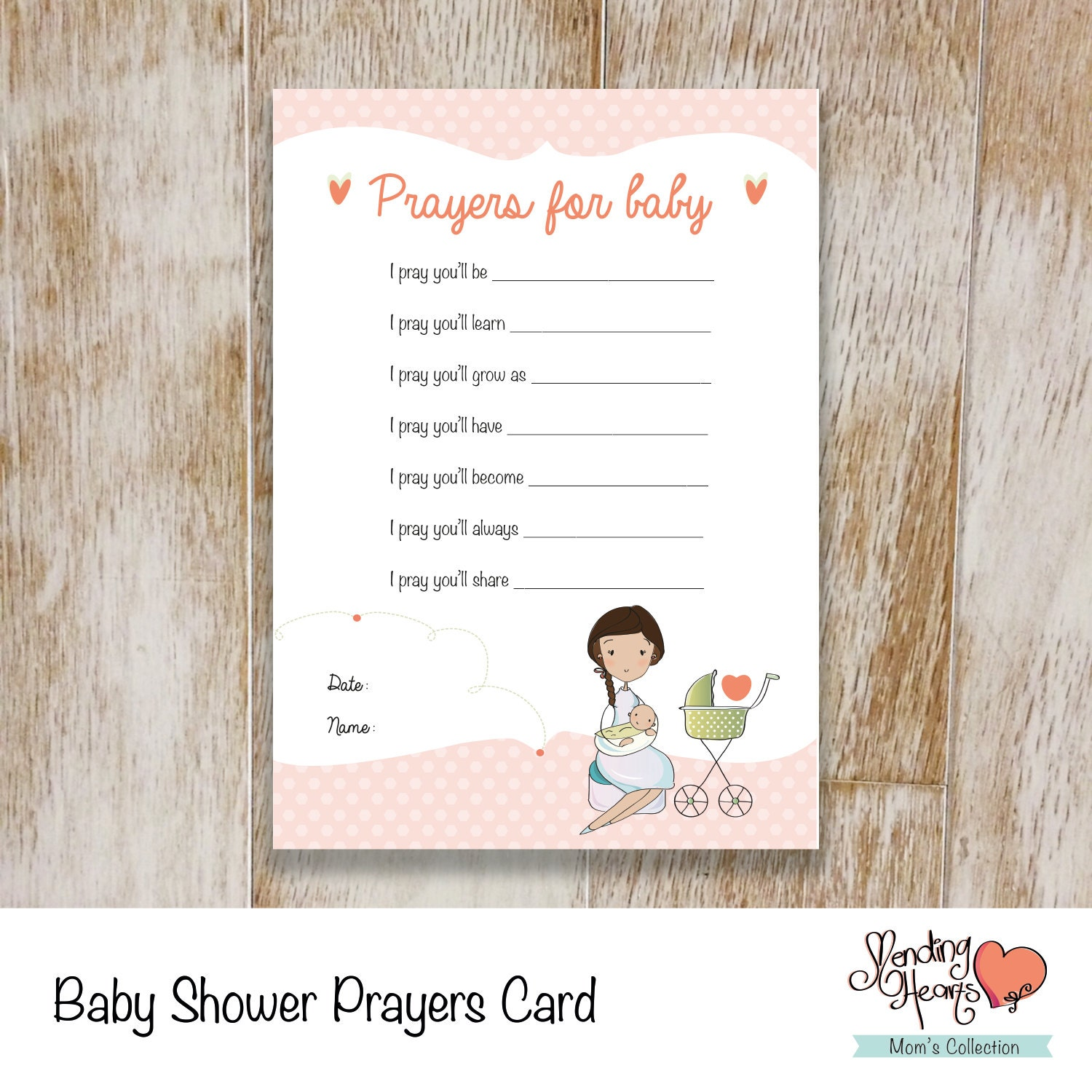 Baby Shower Prayers Card Wishes Card Baby Girl Instant