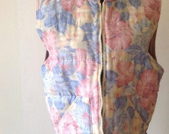 Oversized body warmer with flower print