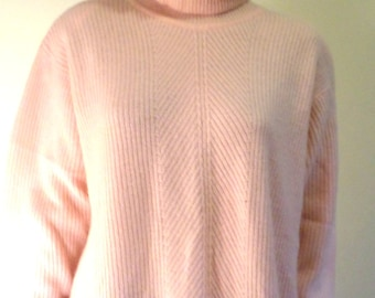 Vintage 80's Pale Peachy Pink Oversize/Boyfriend Turtleneck Angora/Wool Blend Pullover/Sweater/ Marissa Christina Size Lg Made in Hong Kong