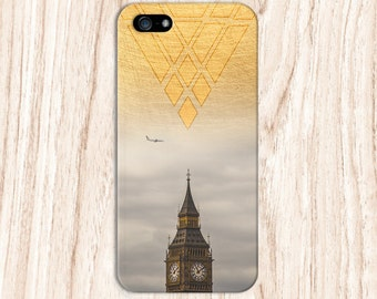 Geometric Gold Big Ben x London Plane Phone Case for iPhone 6 6 Plus iPhone 7  Samsung Galaxy s8 edge s6 and Note 5  S8 Plus Phone Case