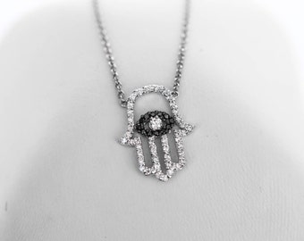 Medium 18k White Gold and All Diamond Hamsa Pendant on a Dainty Necklace with Black Diamonds Around the Evil Eye - 16 Inch Necklace
