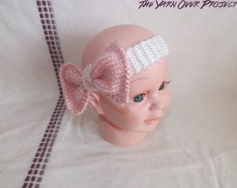 Hand-Knit Baby Headband - Knitted Bow Headband - Headband for Baby - Newborn Photo Prop