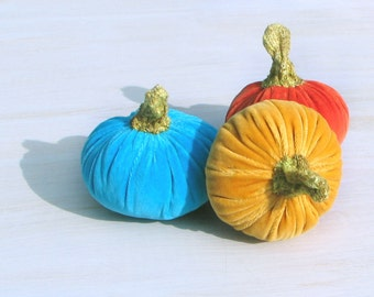 Set of Three Velvet Pumpkins Halloween Decor Thanksgiving Decoration Textile Centerpieces Orange Yellow Turquoise Autumn Fall Ornament