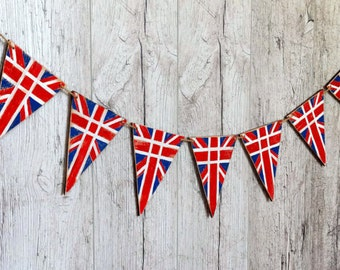 Union Jack bunting UK flag British banner Wood Patriotic banner British party Red Blue White banner 7 double sided flags British decor