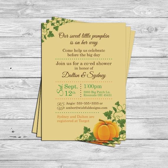 pumpkin baby shower invitations