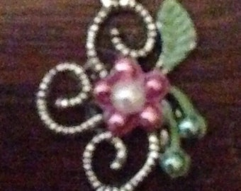 Set of 5 Embellished Floral Charms-Pink and Green