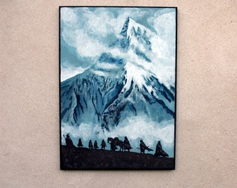 The Lord of the Rings inspired Fellowship acrylic painting on wooden panel
